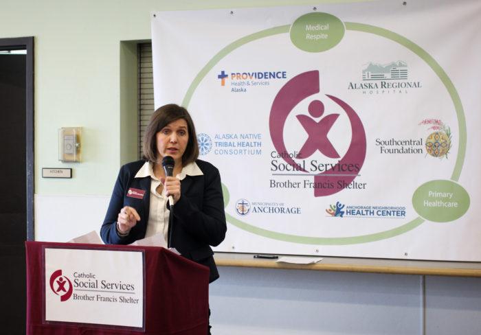 CSS Executive Director Lisa Aquino addresses group at dedication gathering.