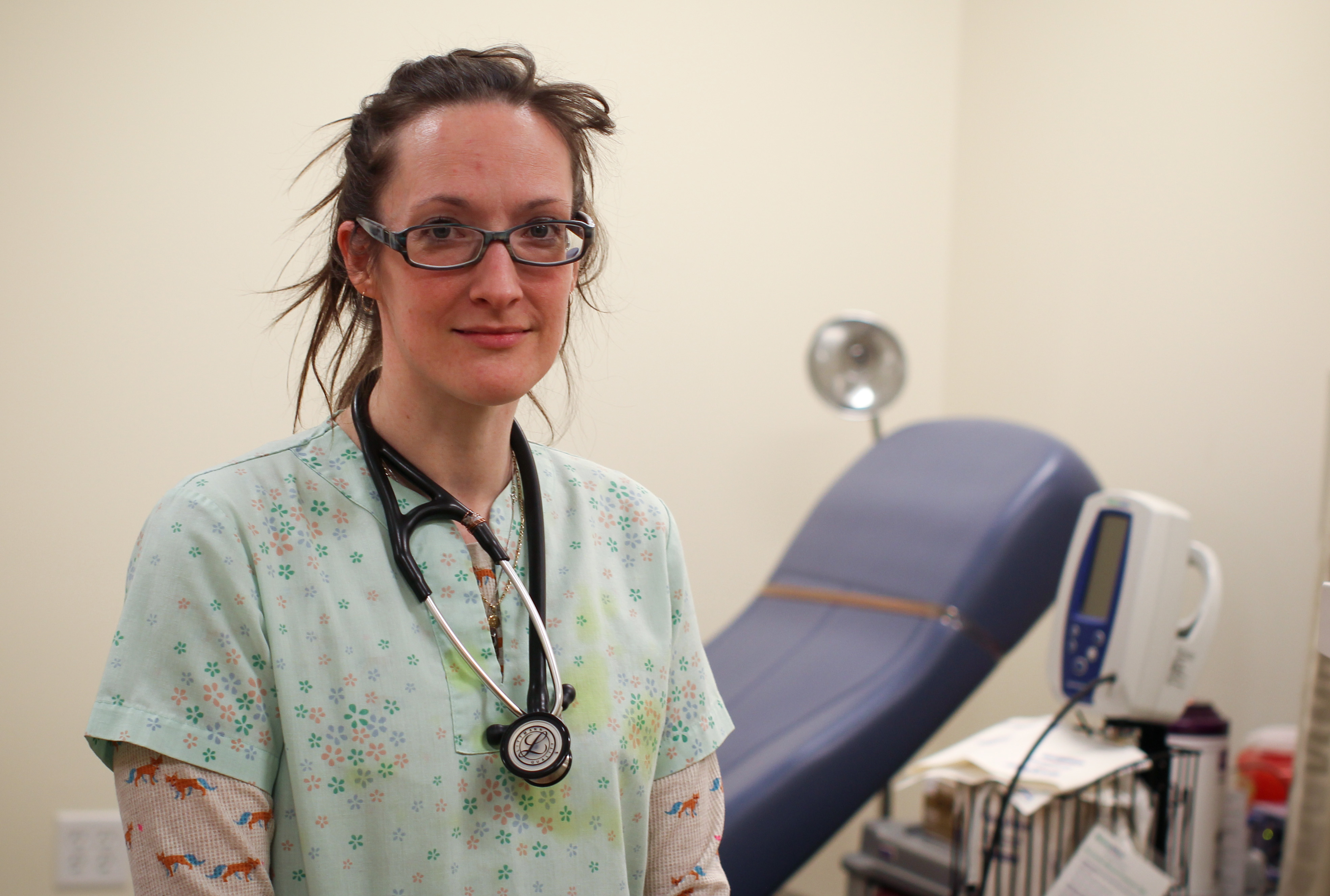 Med Student Amelia is often seen volunteering at the Caring Clinic.