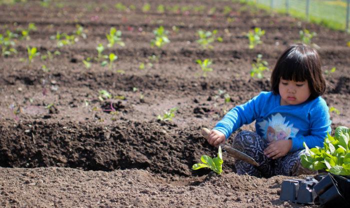 Girl gardening at RAIS Fresh International Gardens